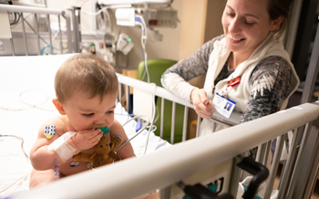 Infant with cardiologist at St Louis pediatric heart center